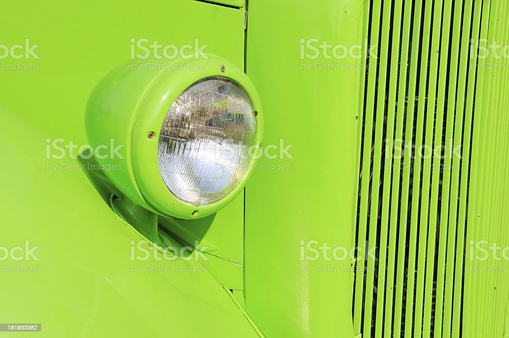 Classic Lime Green Hot Rod Car at a Public Show royalty-free stock photo
