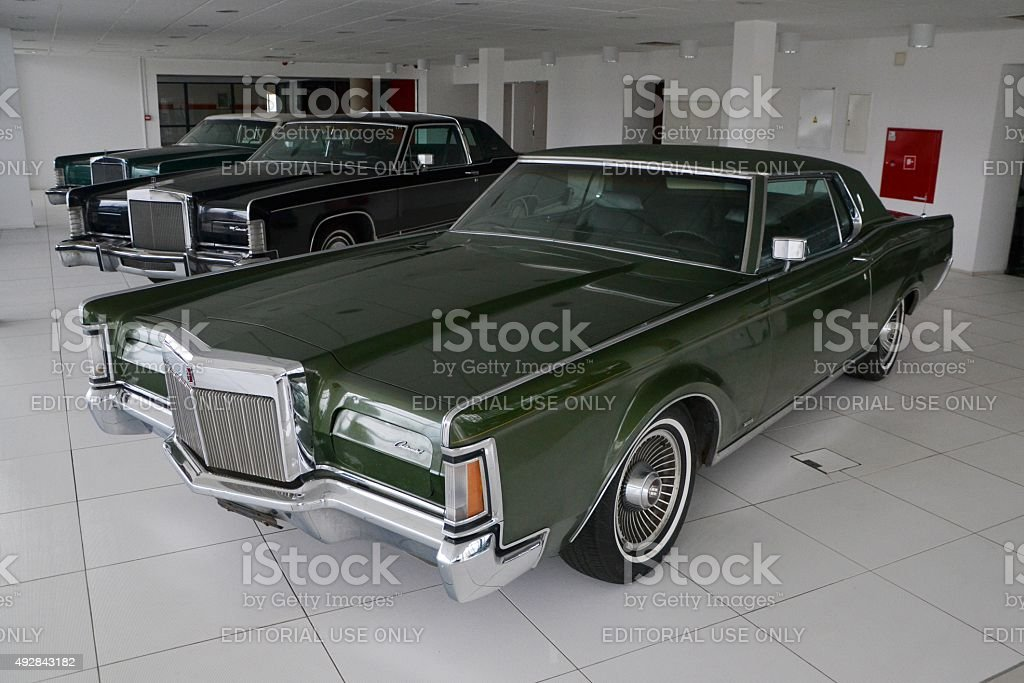 Classic Lincoln Continental cars in a row stock photo