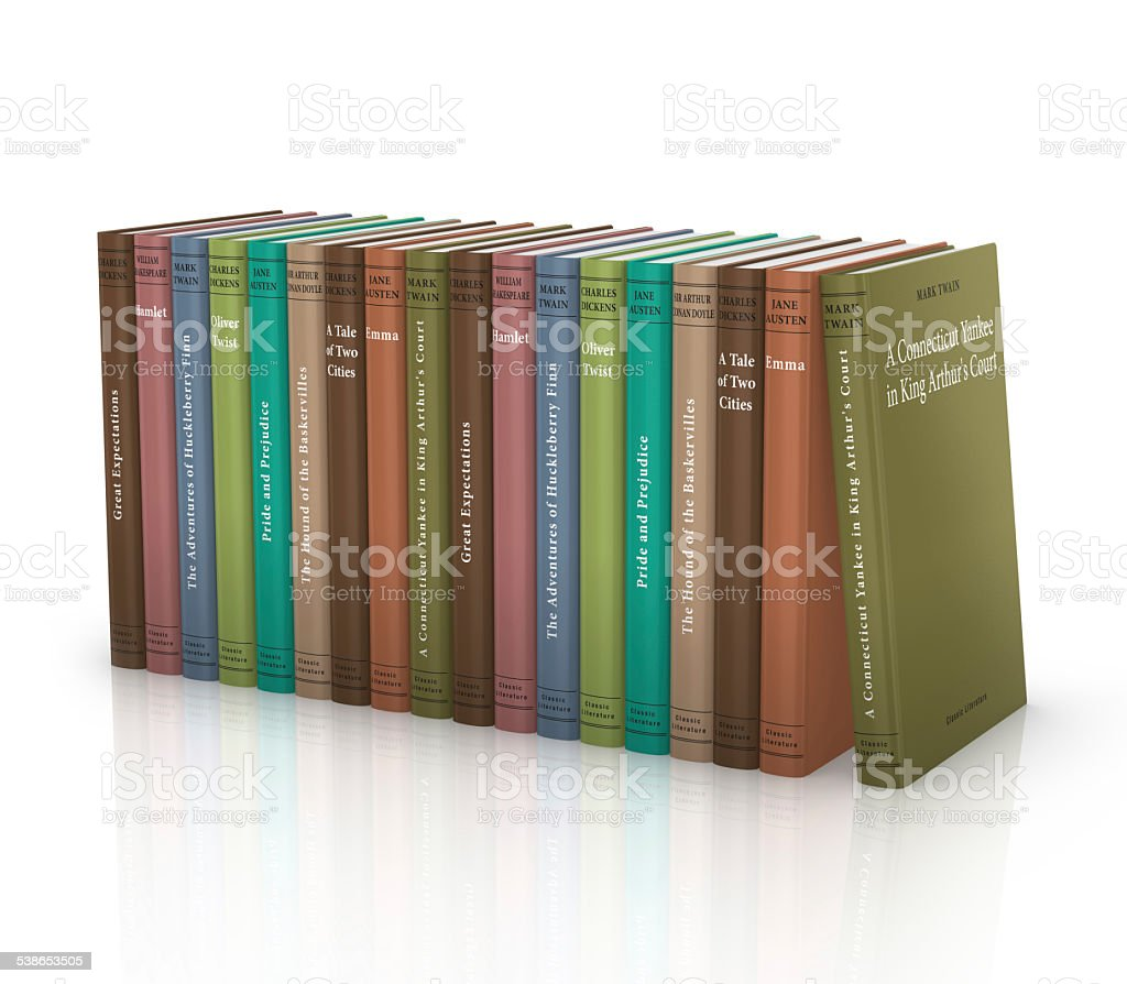 Classic literature book collection stock photo