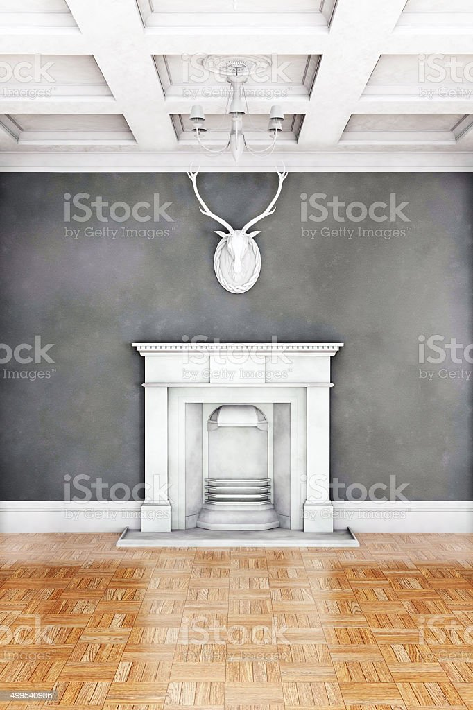 Classic living room interior with fireplace stock photo