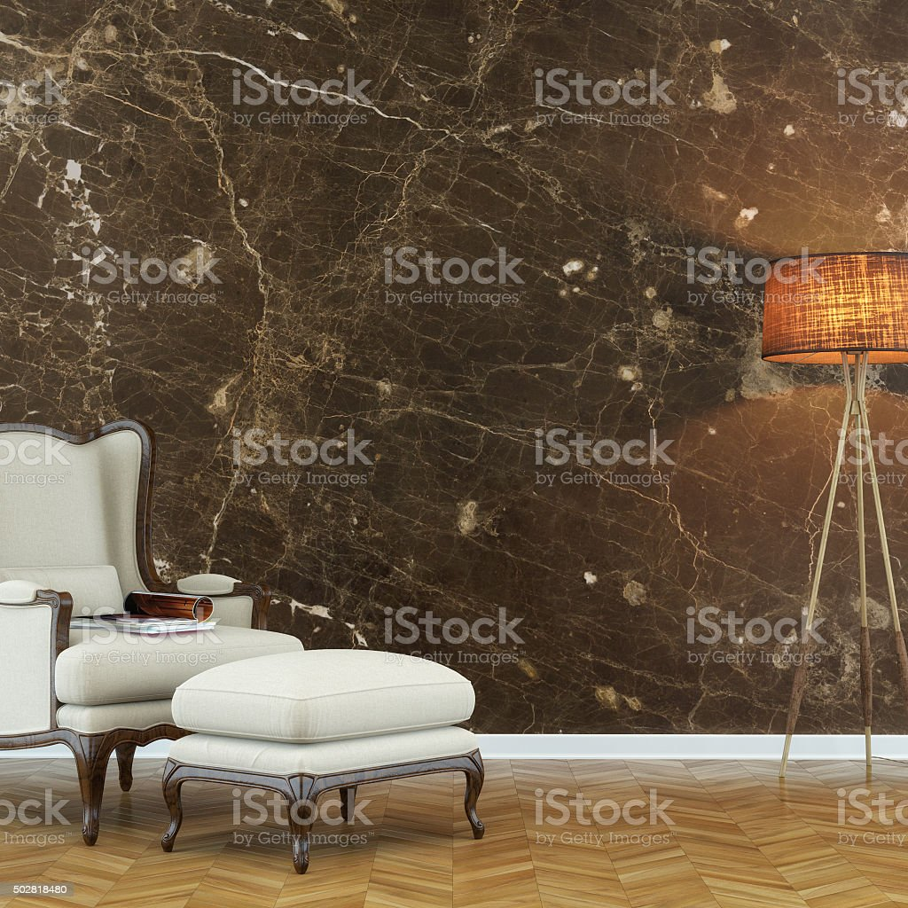 Classic living room with chair and decoration stock photo