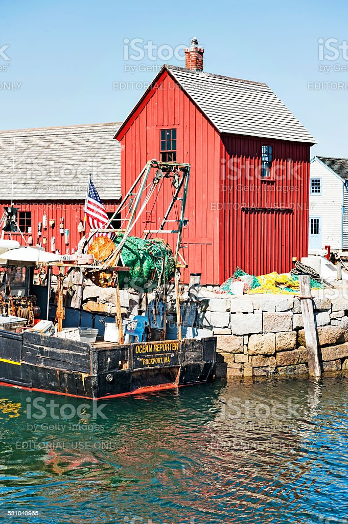 Classic Lobster Hut and Research Vessel stock photo