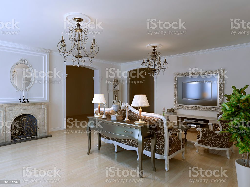 Classic lounge with fireplace stock photo