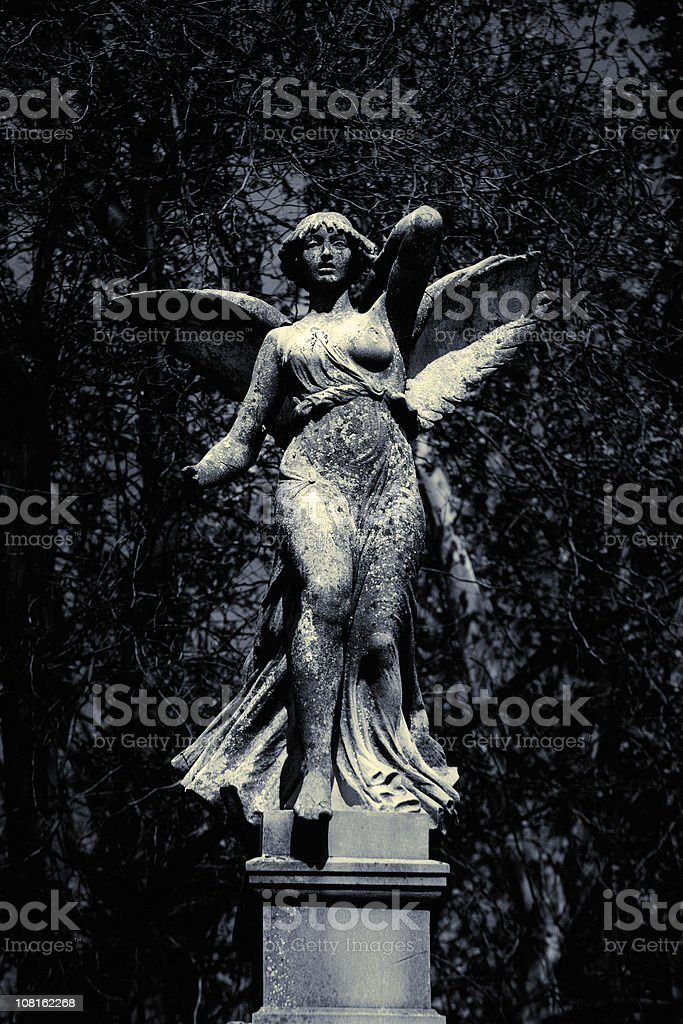 Classic Marble Statue of Angel in Garden, Black and White stock photo