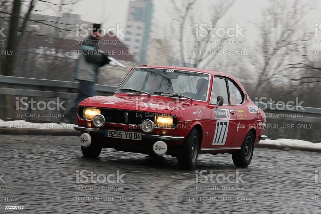 Classic Mazda RX-2 rally car during the rally stock photo