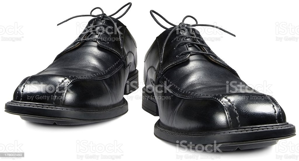 Classic men's black club shoe isolated macro closeup royalty-free stock photo