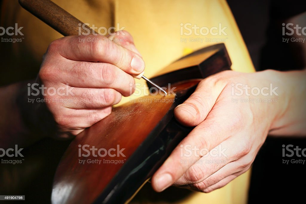Classic men's elegance, stitched shoes at the cobbler stock photo