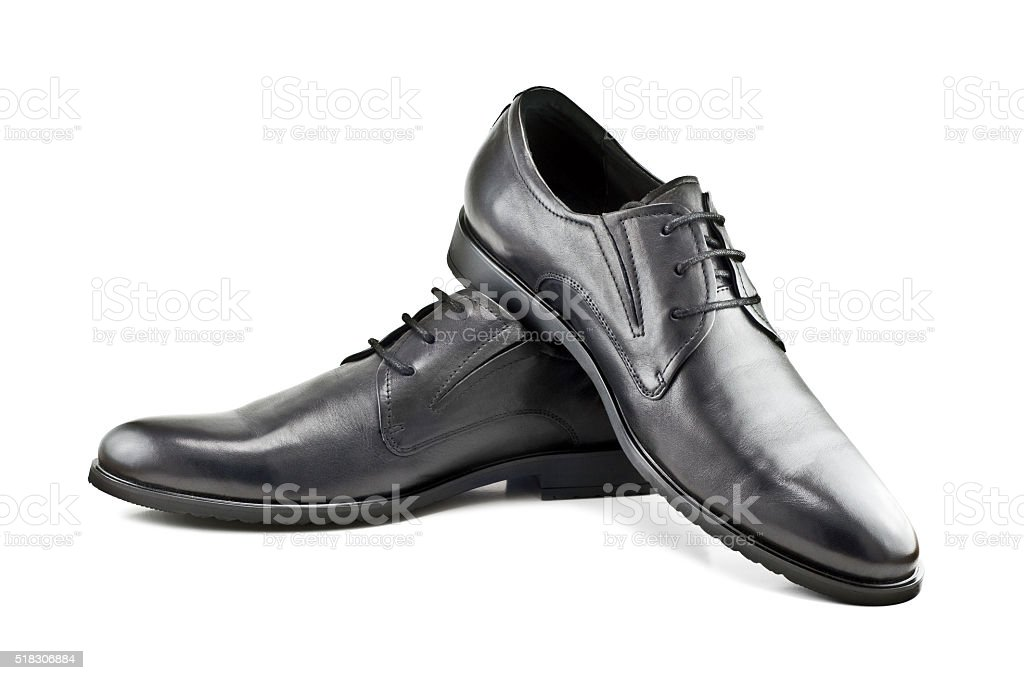 classic men's shoes isolated on white background stock photo