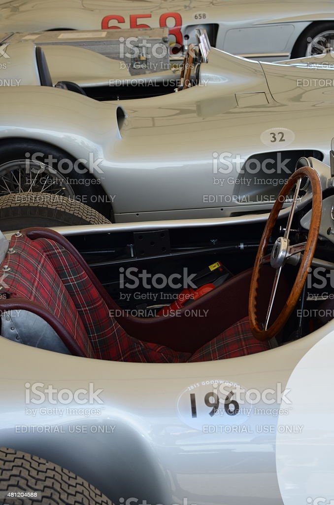 Classic Mercedes race cars at the Goodwood Festival of Speed. stock photo