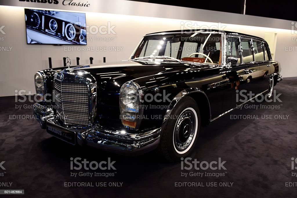 Classic Mercedes-Benz Pullman on the motor show stock photo