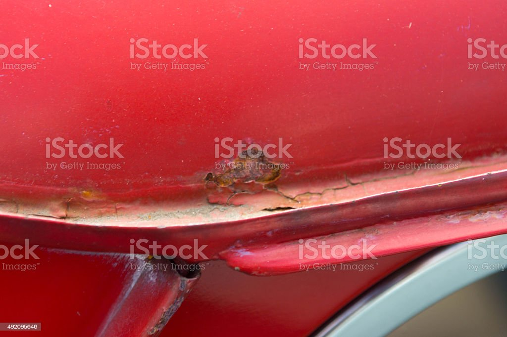 Classic mini cooper rusty roof gutter stock photo