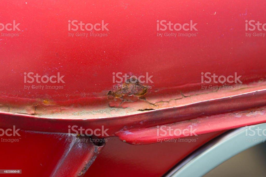 Classic mini cooper rusty roof gutter stock photo