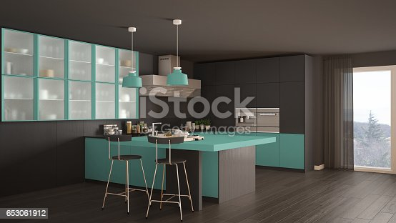classic minimal gray and turquoise kitchen with parquet floor
