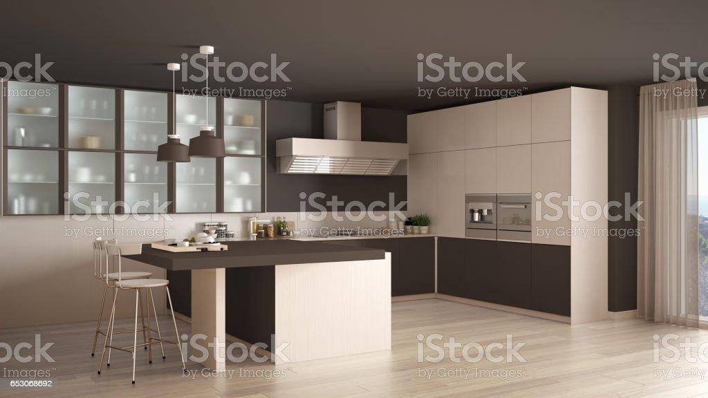 classic minimal white and brown kitchen with parquet floor modern