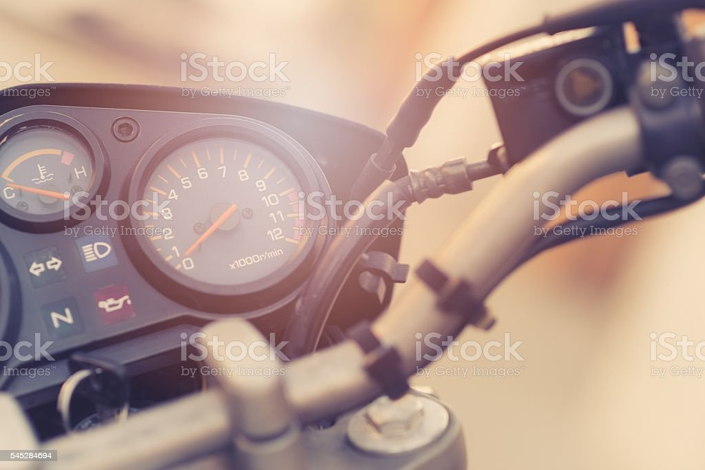 Classic motorbike control panel stock photo