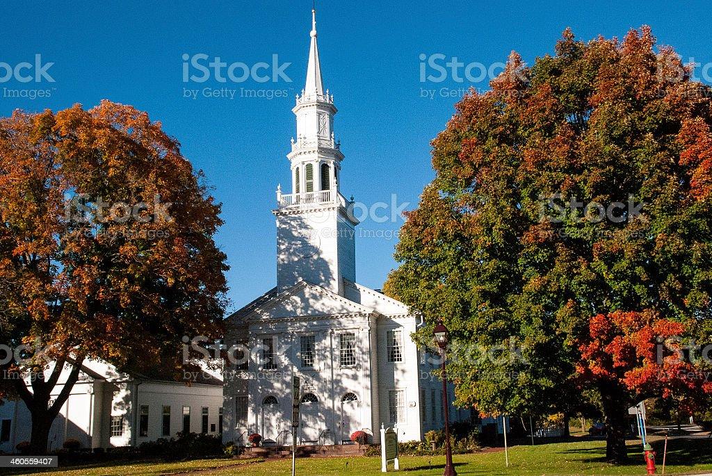 Classic New England Church in Avon Connecticut stock photo