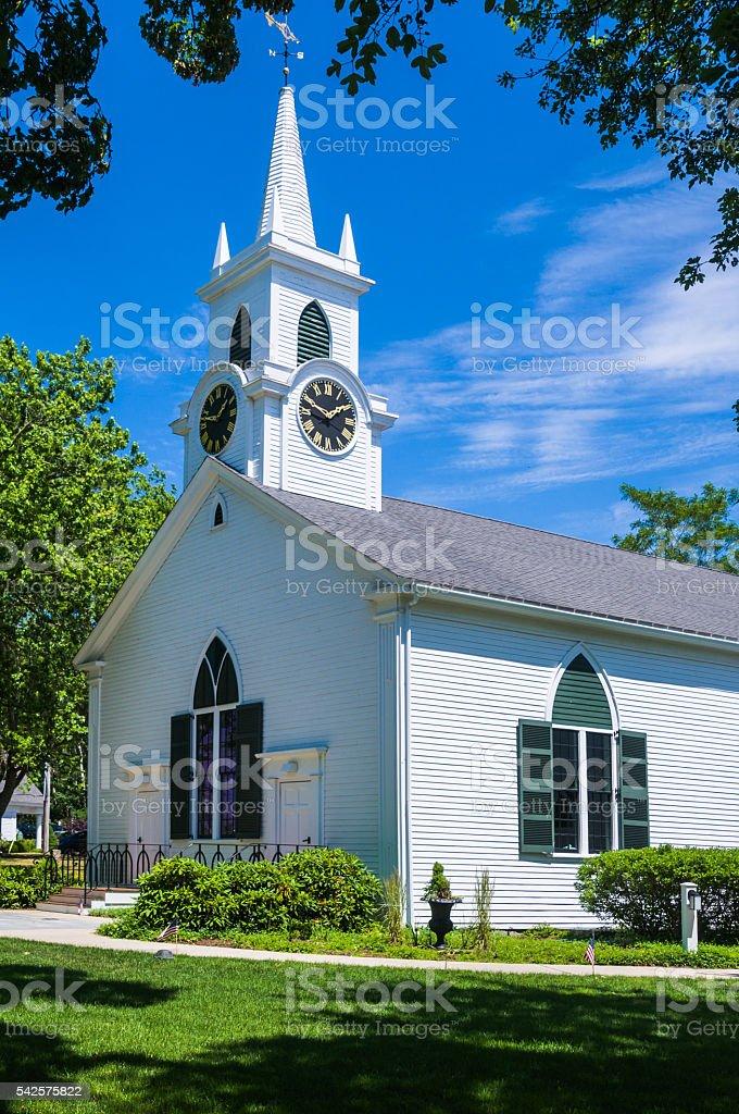Classic New England Church stock photo
