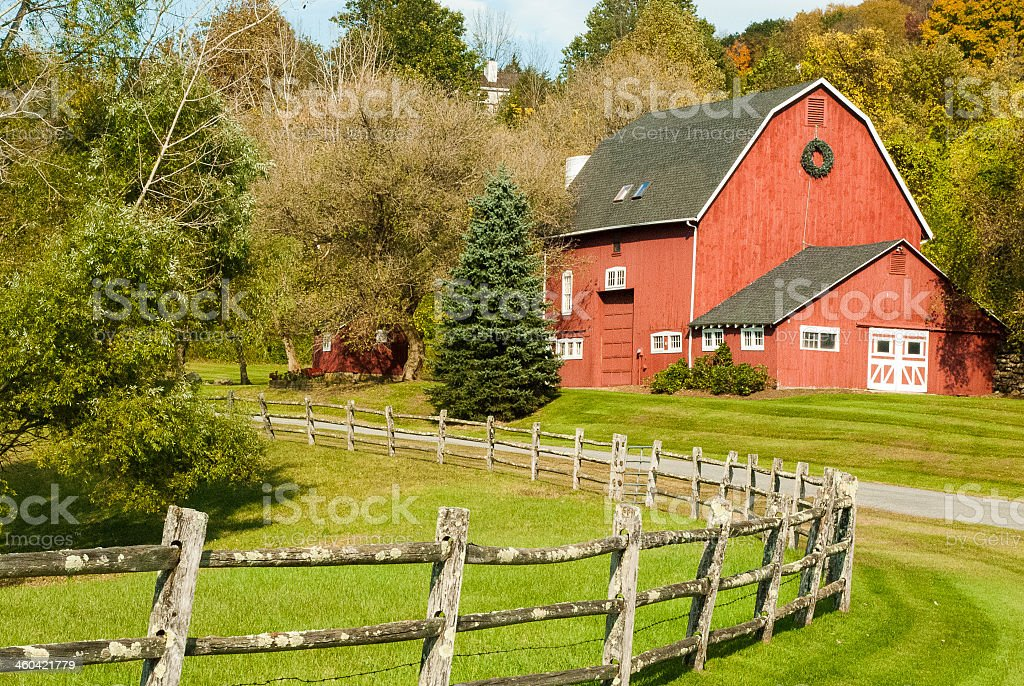 Classic New England Red Barn near Kent Connecticut stock photo