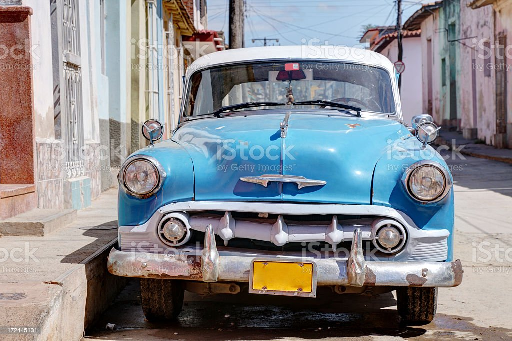 Classic old car in Trinidad royalty-free stock photo