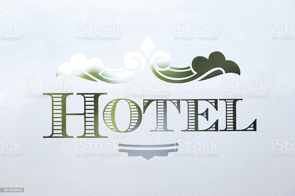 Classic Old Fashion HOTEL Sign in Etched Frosted Glass stock photo