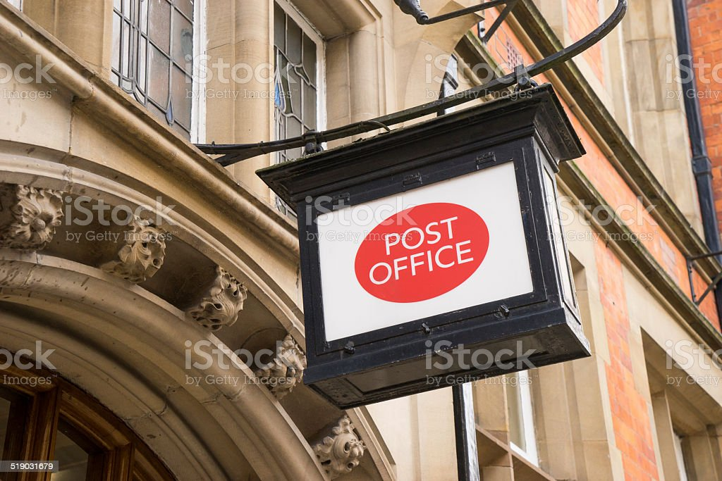 Classic old fashioned post office sign stock photo