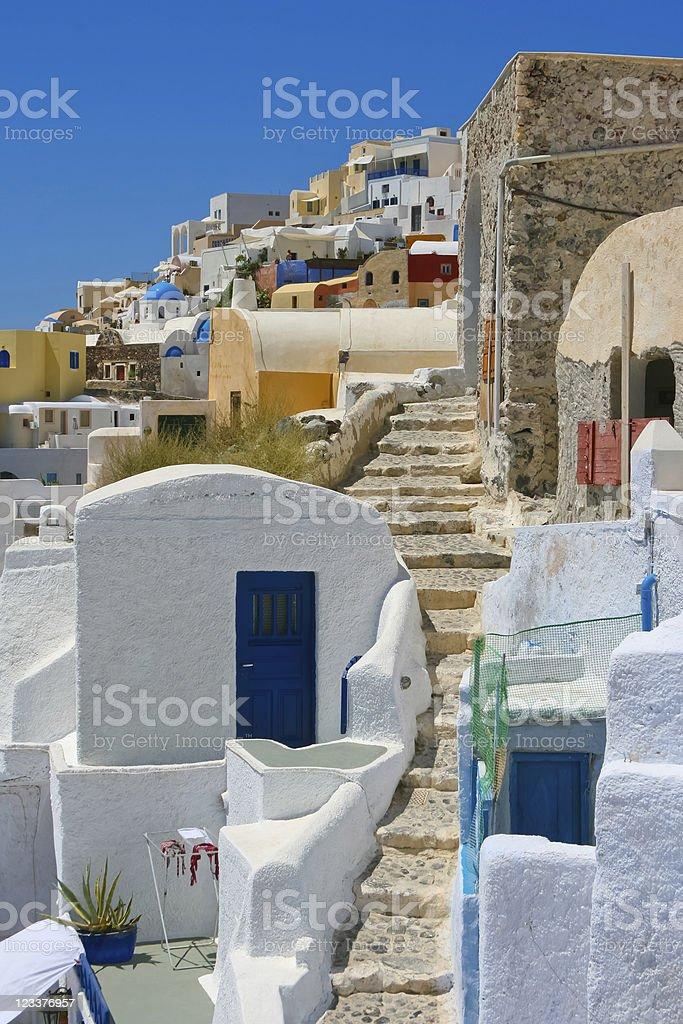 Classic old street in Santorini stock photo