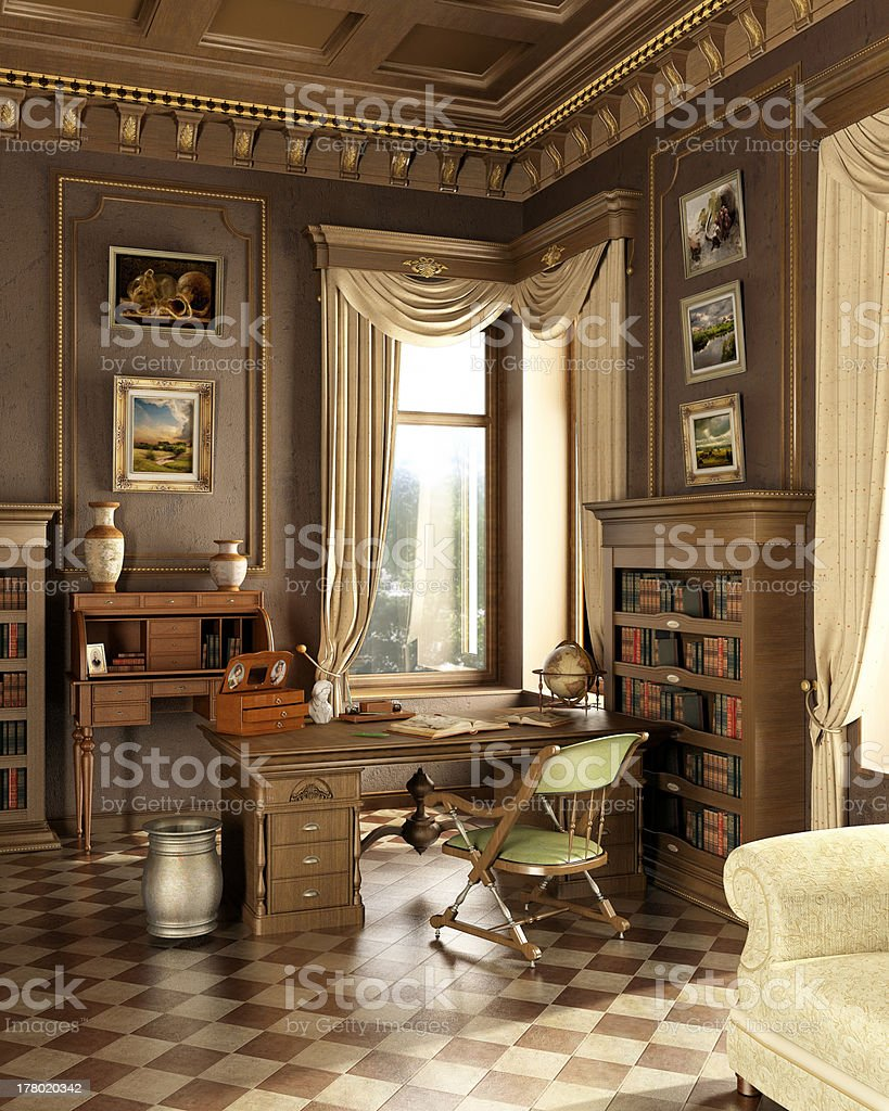 Classic old studio with working place desk and antique objects. stock photo