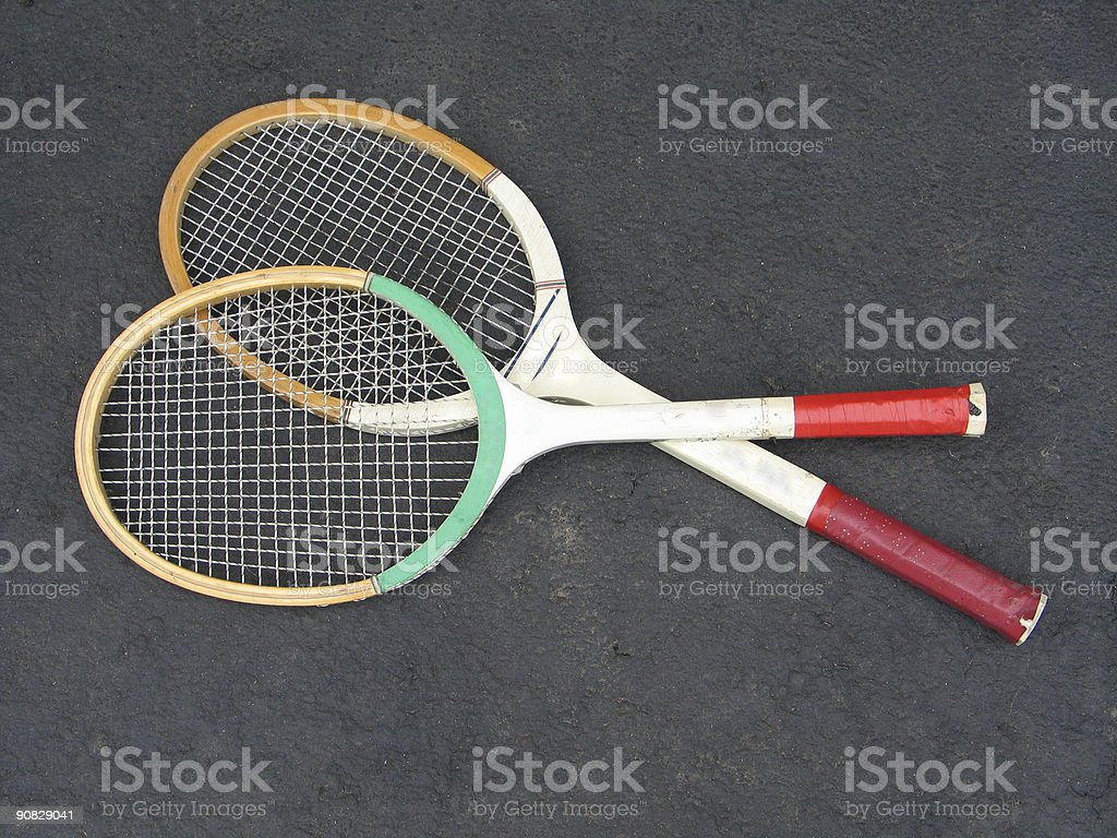 Classic Old Tennis Rackets stock photo
