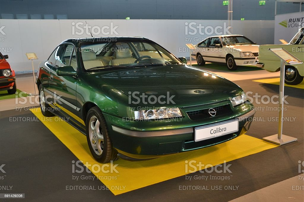 Classic Opel Calibra on the motor show stock photo