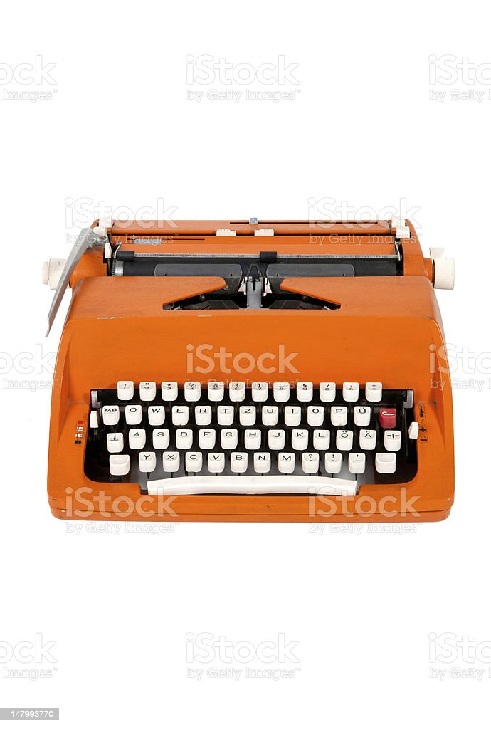 Classic orange typewriter royalty-free stock photo