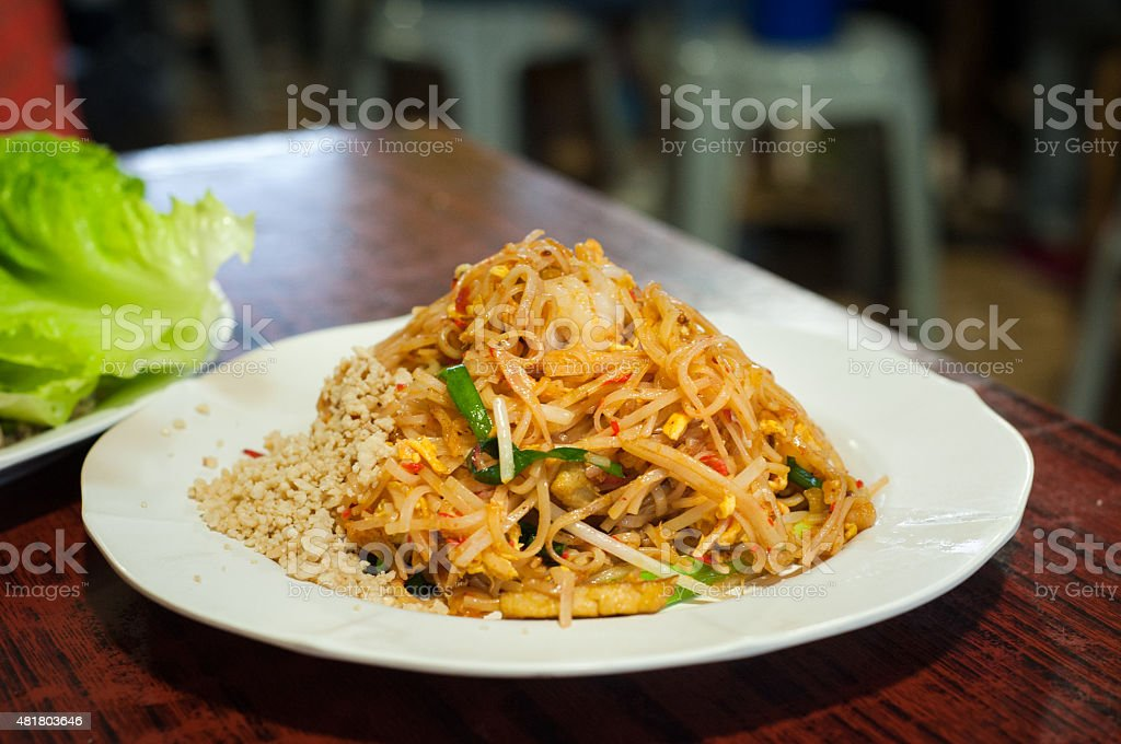 Classic pad Thai noodles dish served at a local restaurant stock photo