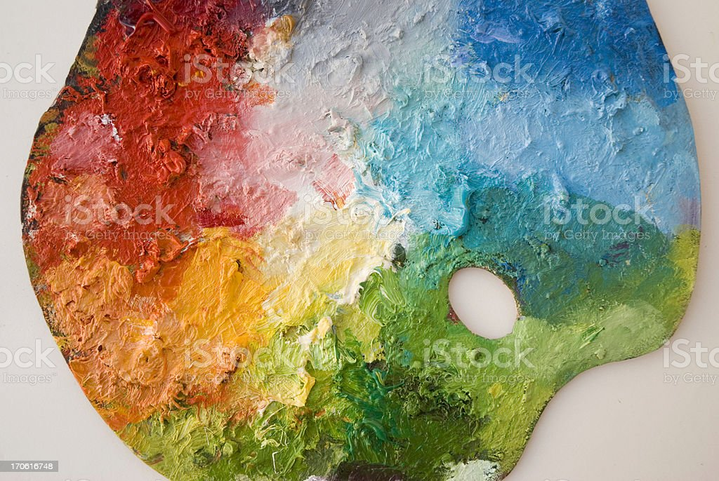 Classic painter palette with primary colours royalty-free stock photo