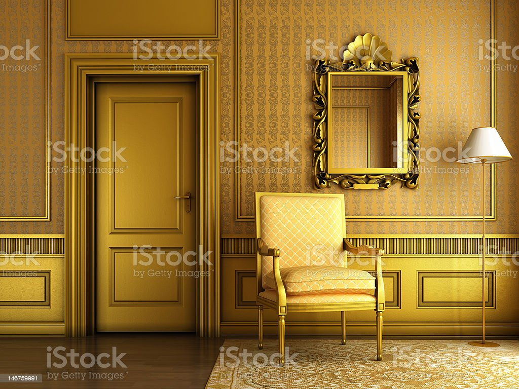 classic palace interior with armchair mirror and golden molding stock photo