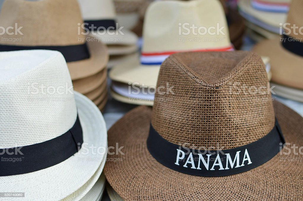Classic Panama hats  in Casco Viejo, Panama City, Panama stock photo