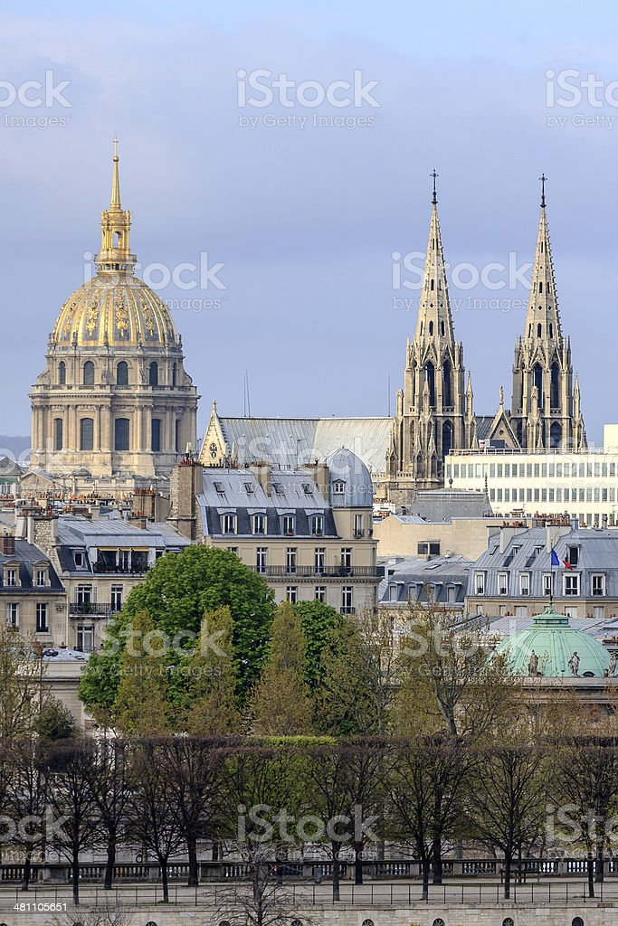 Classic Paris View - Steeples and Domes royalty-free stock photo