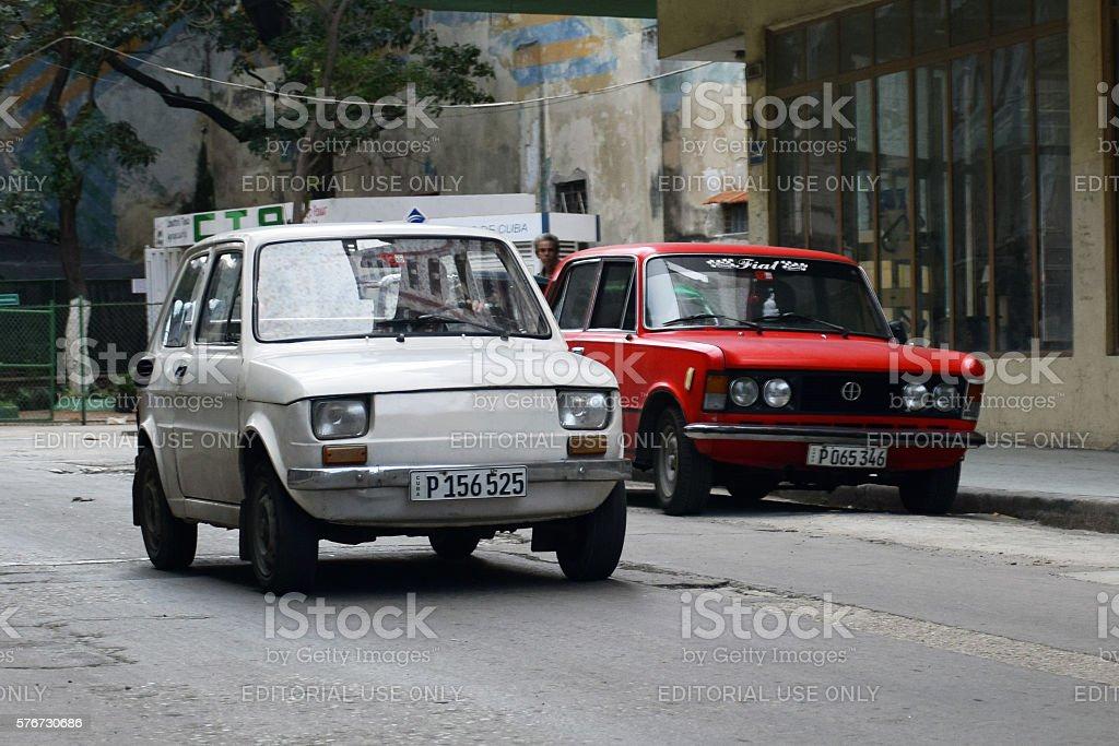 Classic Polish cars on the Havana street stock photo