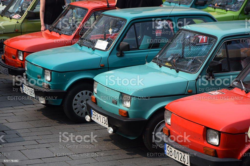 Classic Polski Fiat 126p cars in a row stock photo