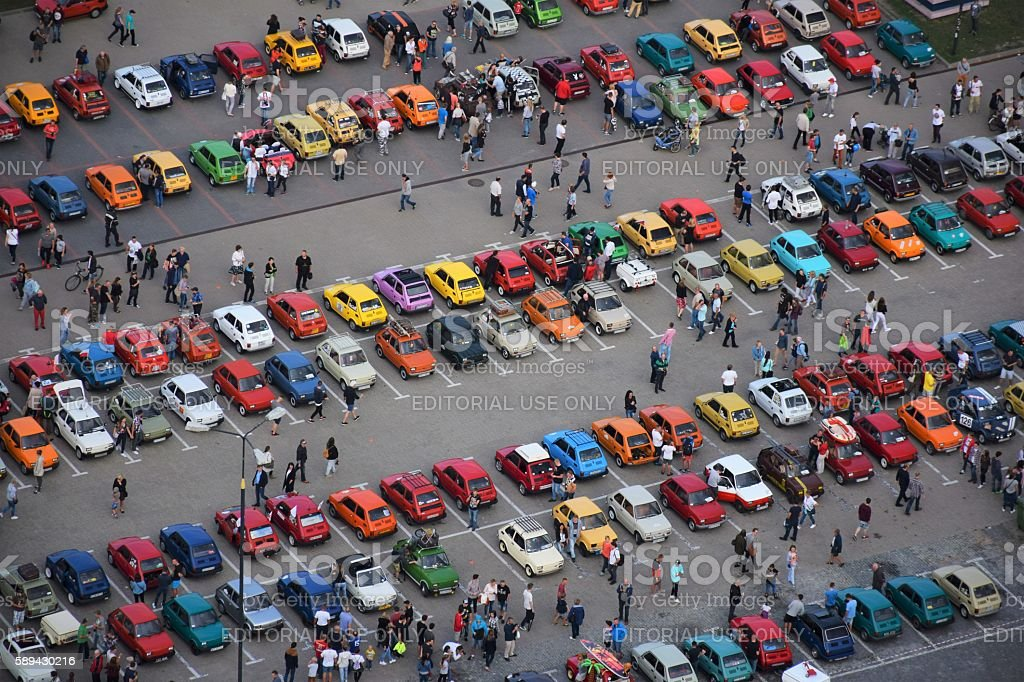 Classic Polski Fiat 126p vehicles on the parking stock photo