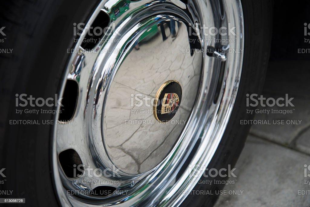 Classic Porsche 356 Hub Cap Reflections stock photo