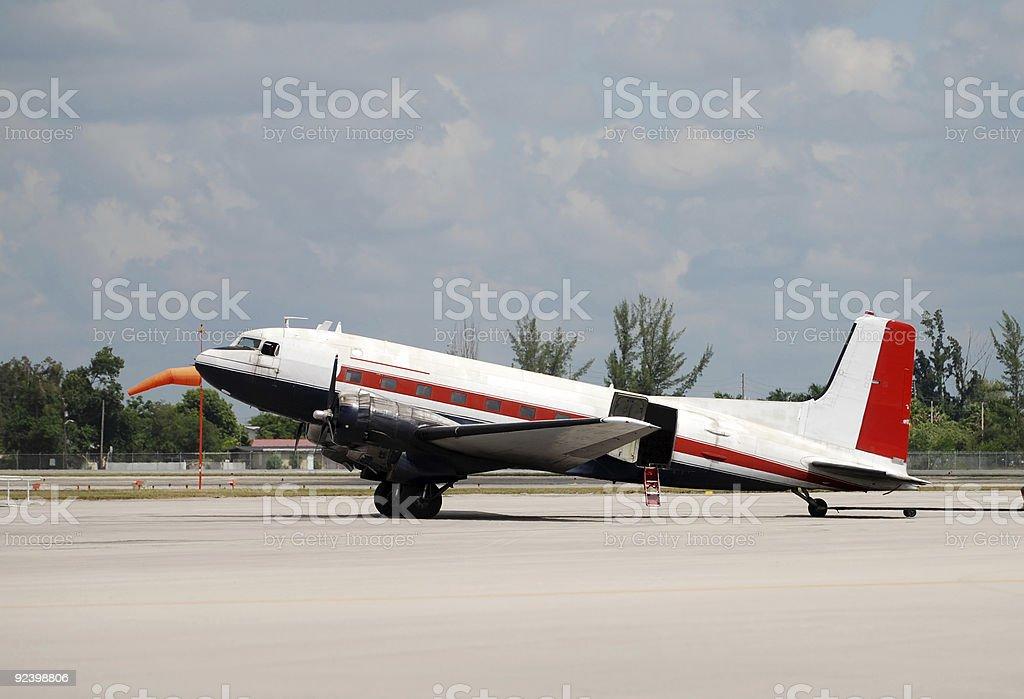 Classic propeller airplane stock photo