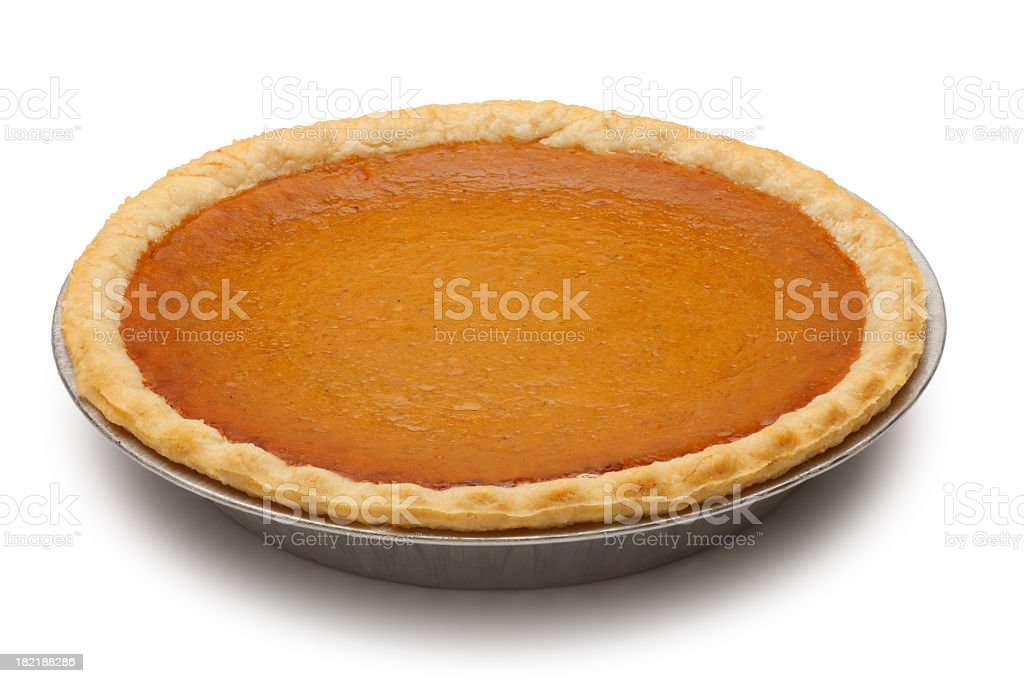 Classic pumpkin pie isolated on white background stock photo