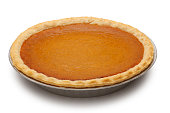 Classic pumpkin pie isolated on white background