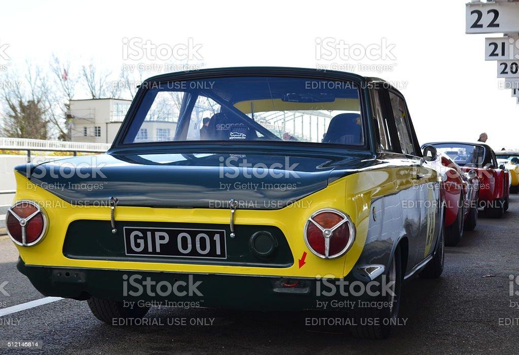 Classic race car's at Goodwood motor circuit. stock photo