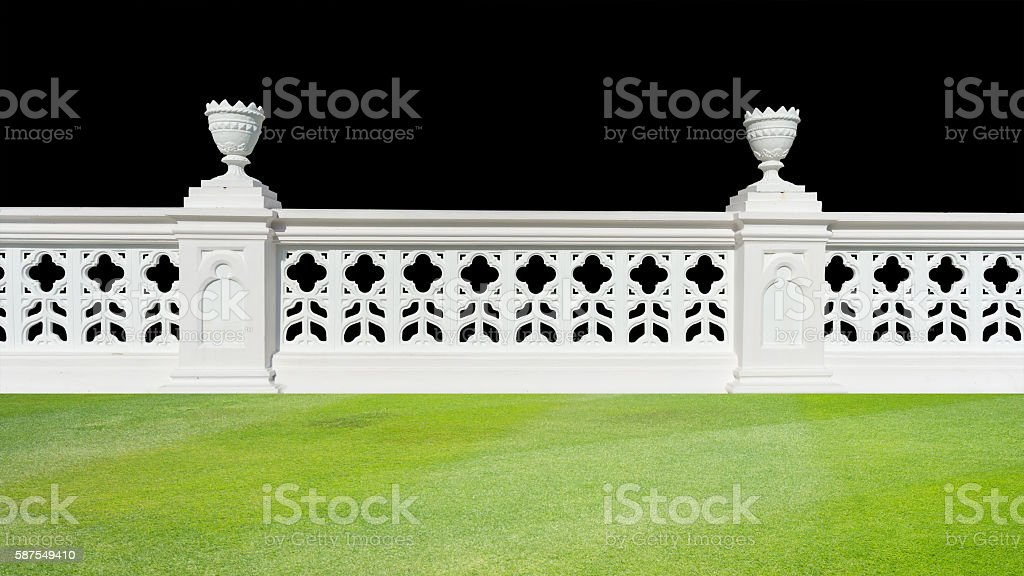 Classic railing with floor isolatedClassic design white beautifu stock photo