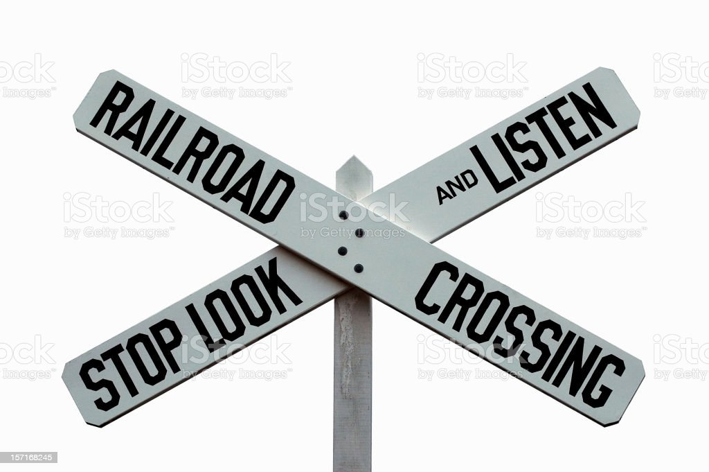 Classic Railroad Crossing STOP, LOOK, and LISTEN Caution Warning Sign royalty-free stock photo
