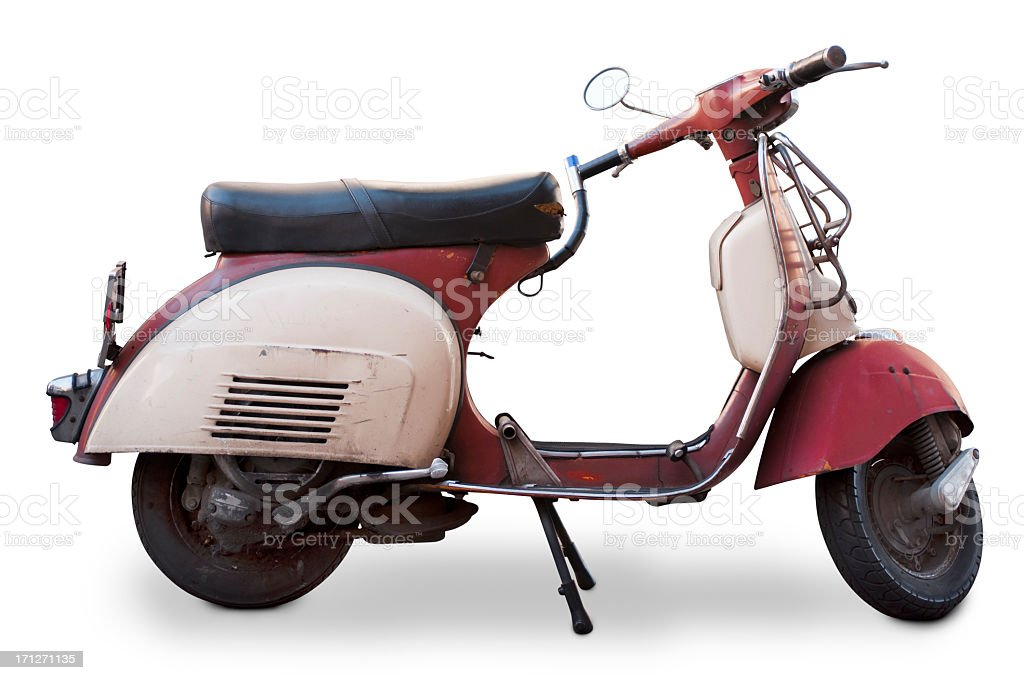 Classic red and white motorbike stock photo
