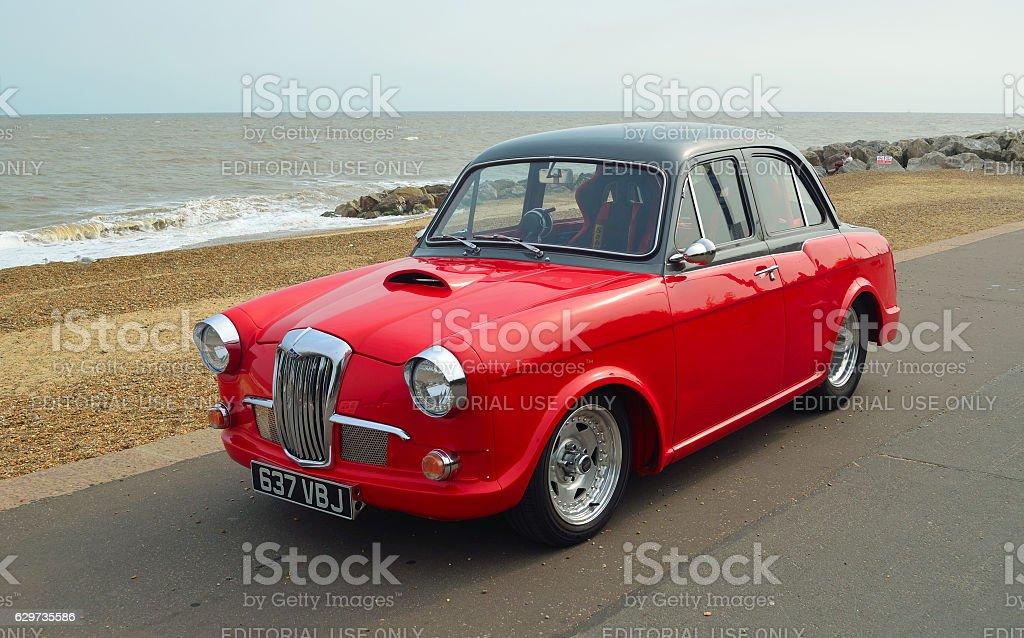 Classic Red & Black Riley 1.5 motor car stock photo