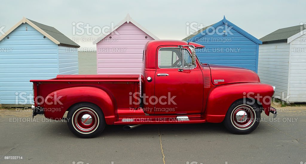 Classic Red  Chevrolet 3100 pickup truck stock photo