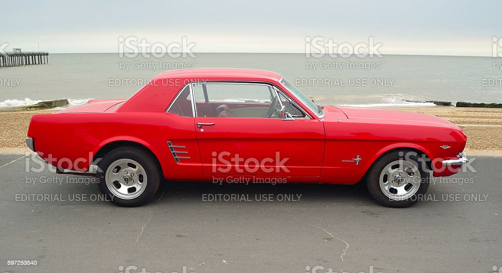 Classic Red Ford Mustang stock photo