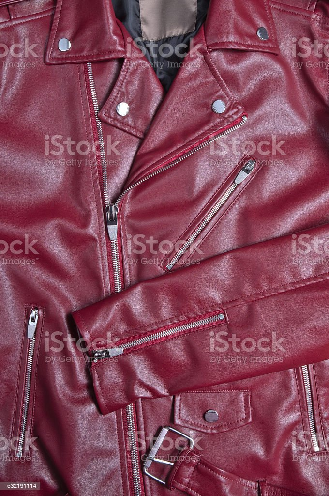 Classic red leather biker jacket stock photo